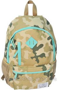 Легковесный молодежный рюкзак 18 л. Paso CM-182C камуфляж/салатовый