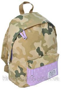 Молодежный городской рюкзак 15 л. Paso CM-222G камуфляж/сирень