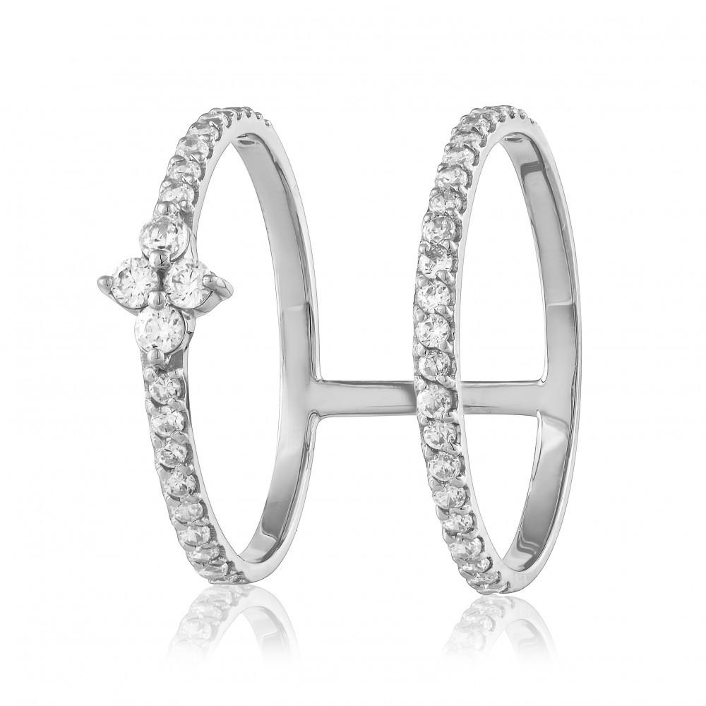 """Золотое кольцо с цирконами """"Современность"""", белое золото, КД0533/1 Eurogold"""