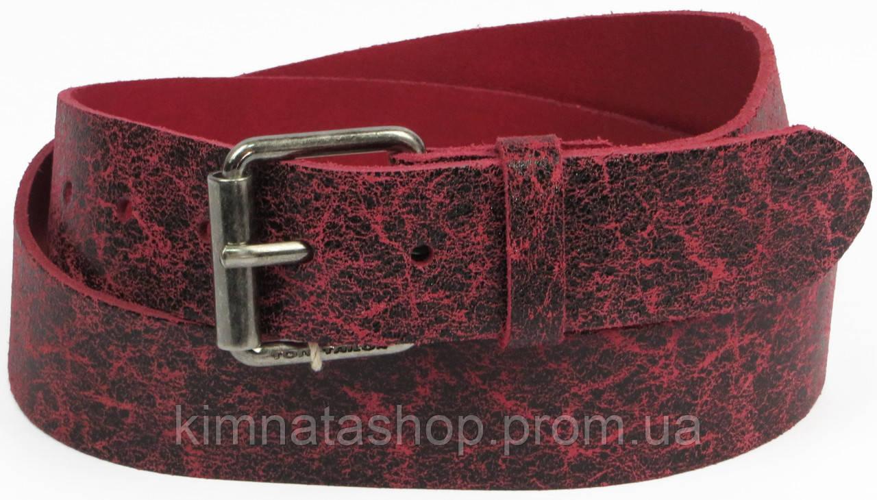 Кожаный женский ремень под джинсы Tom Tailor, Германия, 100062, бордовый, ШхД: 4х120 см