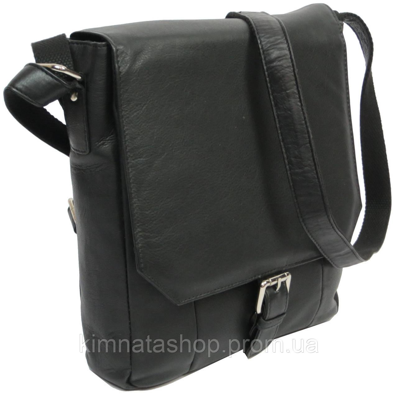 bd0d411f8f96 Кожаная мужская сумка-плантешка Always Wild 5747-1-spn черный Размеры:  26х27х8