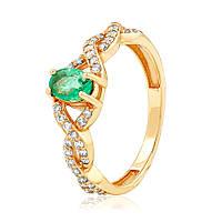 """Золотое кольцо с изумрудом и бриллиантами """"Марианна"""", красное золото, КД7530СМАРАГД"""