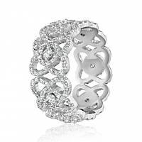 """Золотое кольцо с бриллиантами """"Ажурное"""", белое золото, КД7581/1 Eurogold"""