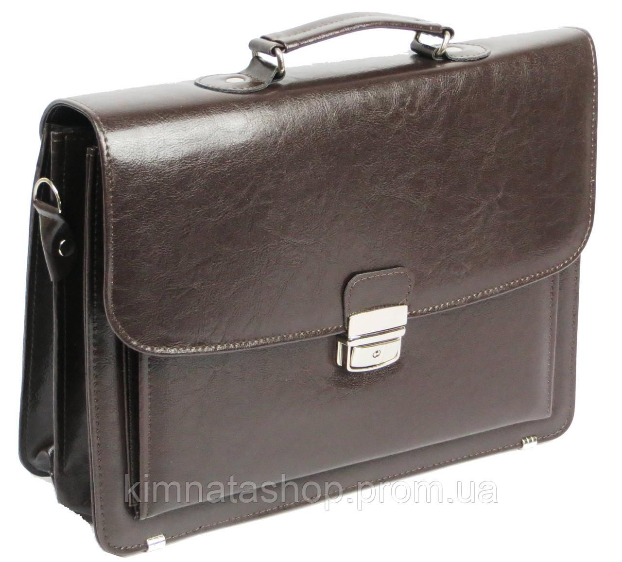 Портфель деловой из искусственной кожи 3 отдела, Jurom Польша 0-38-112 коричневый