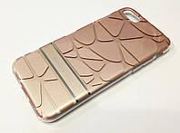 Чехол iPhone 7 силиконовая 3D накладка с пластиковой основой Goospery золотой