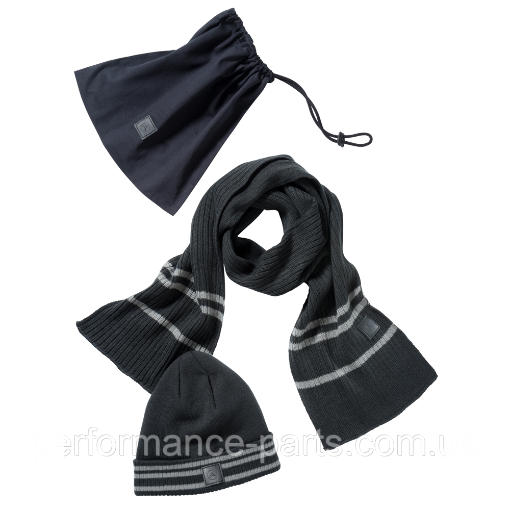 Набор из шапки и шарфа Mercedes-Benz Hat and Scarf Set, Anthracite B67870898