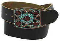 Женский винтажный кожаный ремень с закрытой пряжкой, Vanzetti, Германия, 100025 коричневый, 4х97 см