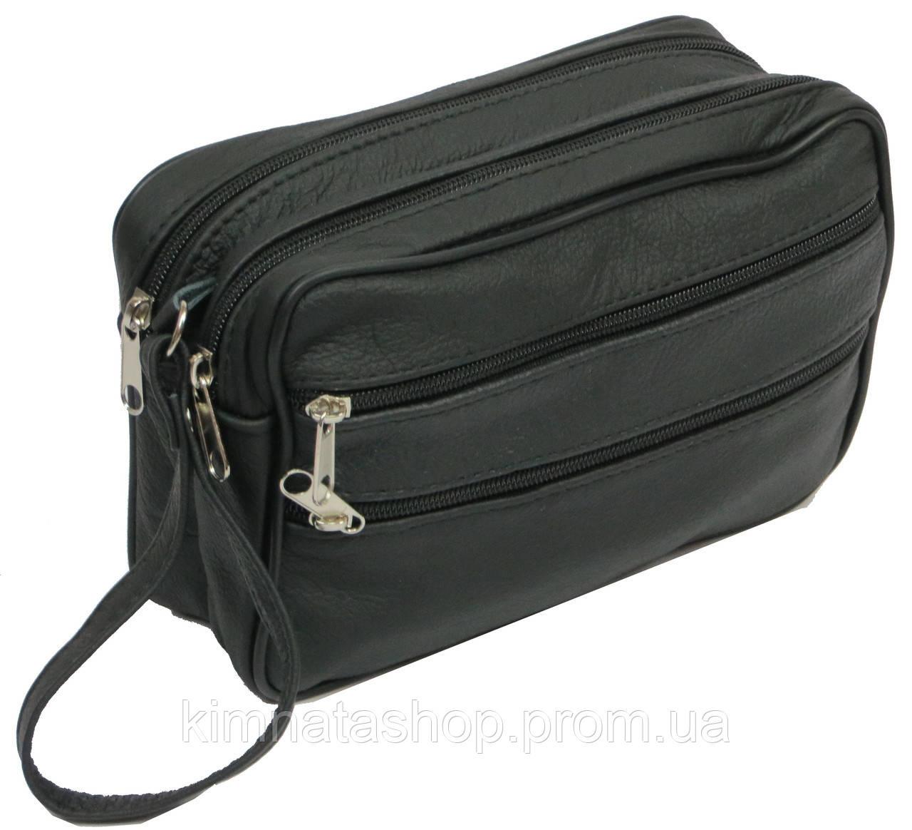 Мужская кожаная сумка-борсетка 41393 Andrzej черный, 22х14х7 см.