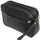 Мужская кожаная сумка-борсетка 41393 Andrzej черный, 22х14х7 см., фото 2