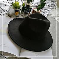 Шляпа женская Федора с устойчивыми полями черная, фото 1