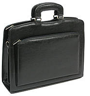 Деловой портфель-саквояж из кожзаменителя, Jurom Польша 0-35-111 черный