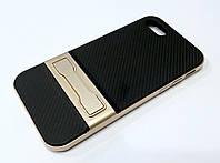 Чехол Ipaky для iPhone 7 прорезиненный со съемным пластиковым бампером и подставкой черно-золотой