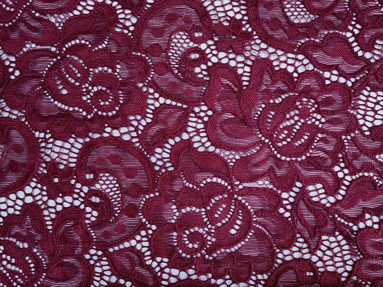 Гипюр классика крупные цветы, бордовый