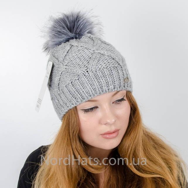 Женская шапка с помпоном  (Серый)