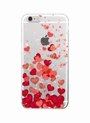 Чехол накладка xCase на iPhone 5/5s/SE прозрачный с сердечками №2