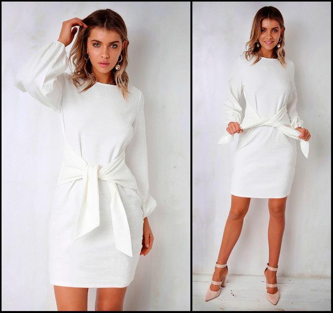 007e5e3391a Женское белое трикотажное платье с поясом Luiza (ОВ 160)  продажа ...