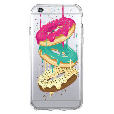 Чехол накладка xCase на iPhone 5/5s/SE прозрачный с пончиками №2