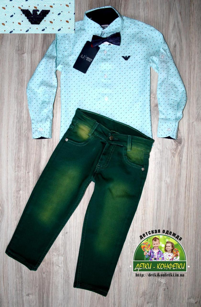 Костюм для малыша на праздник: нарядная рубашка, бабочка и джинсы