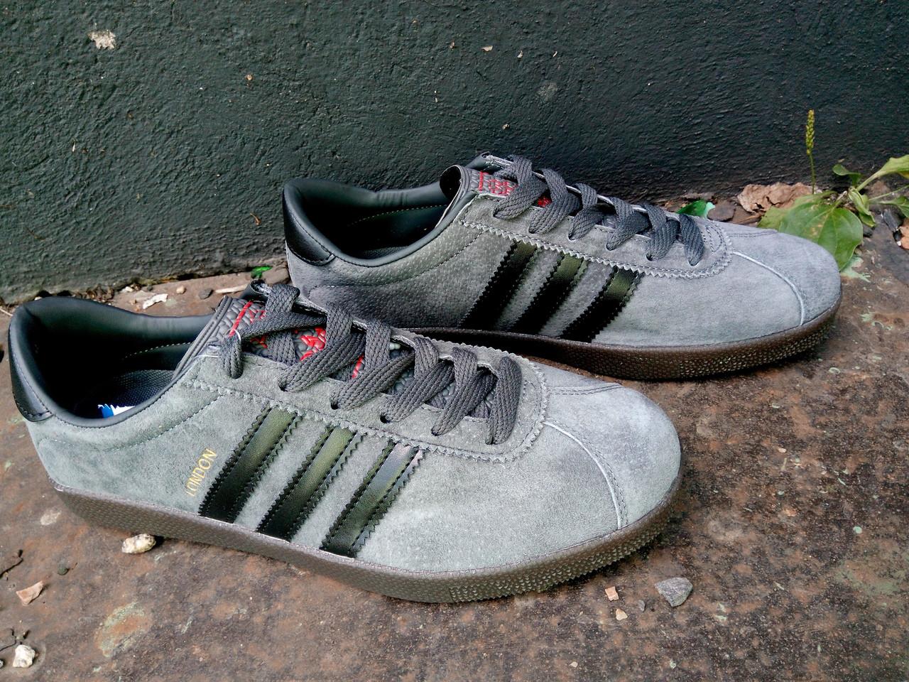 Кроссовки мужские Adidas London Серый 3 черных.