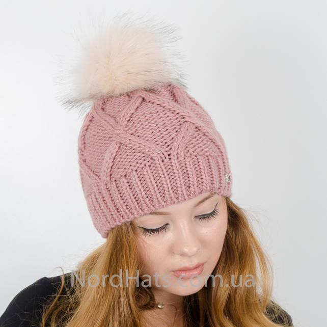 Женская шапка с помпоном  (Темная пудра)