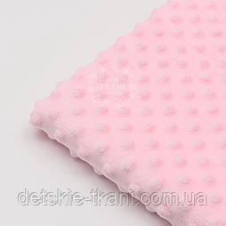 Відріз плюшу minky М-6 розміром 100*80 см, для пледа, колір світло рожевий