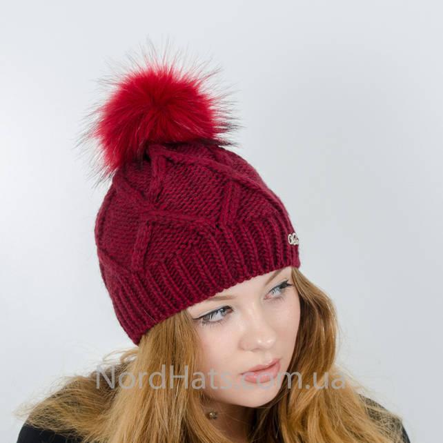 Женская шапка с помпоном  (Бордо)