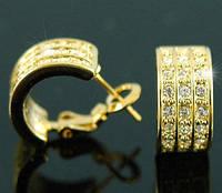 Серьги Gold Plated Huggie Earrings use Swarovski Crystal SE138  - ОПТ