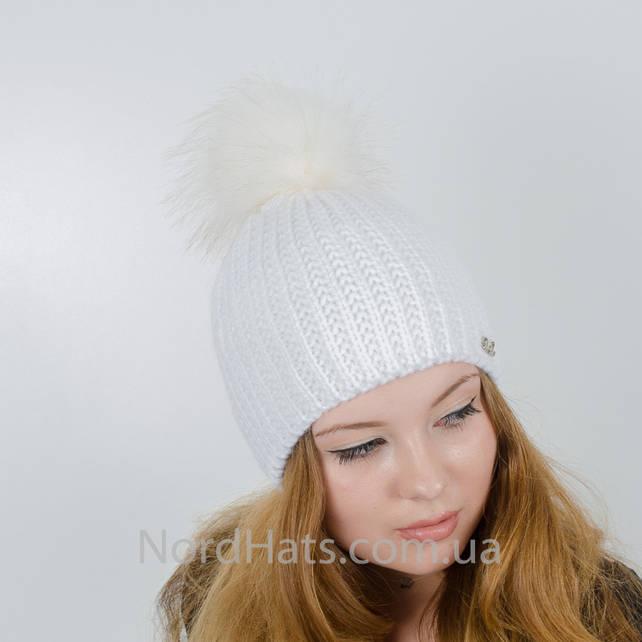 Женская шапка с помпоном  (Молоко)