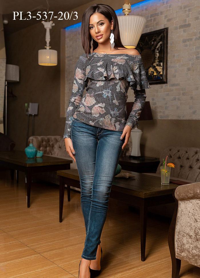 Женский трикотажный джемпер приталенного силуэта  / размер 46,48,50