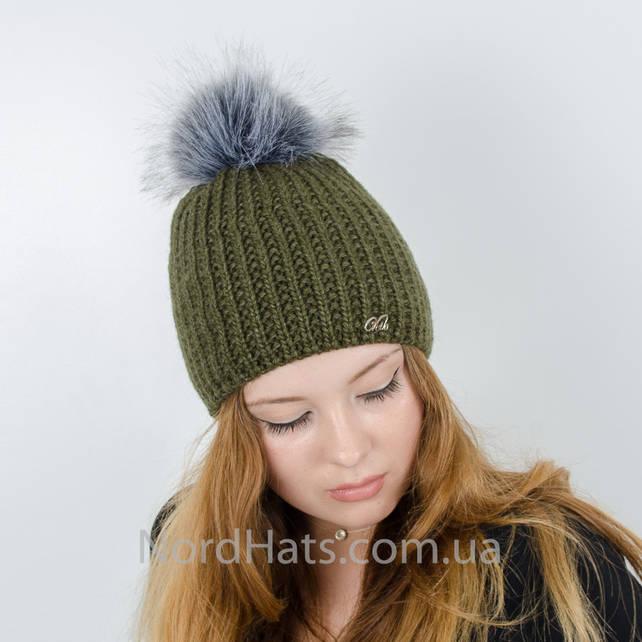Женская шапка с помпоном  (Хакки)