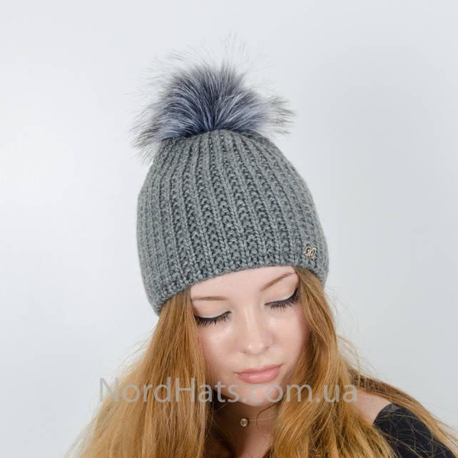Женская шапка с помпоном  (Темно-серый)