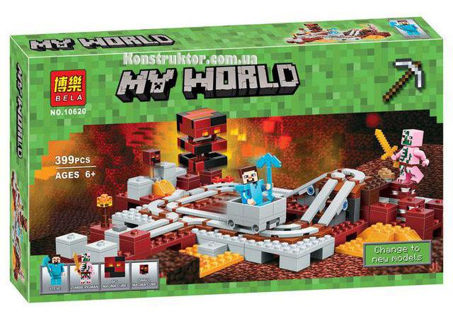 """Конструктор Майнкрафт """"Подземная железная дорога"""" Bela 10620 аналог Лего 21130, 399 деталей."""