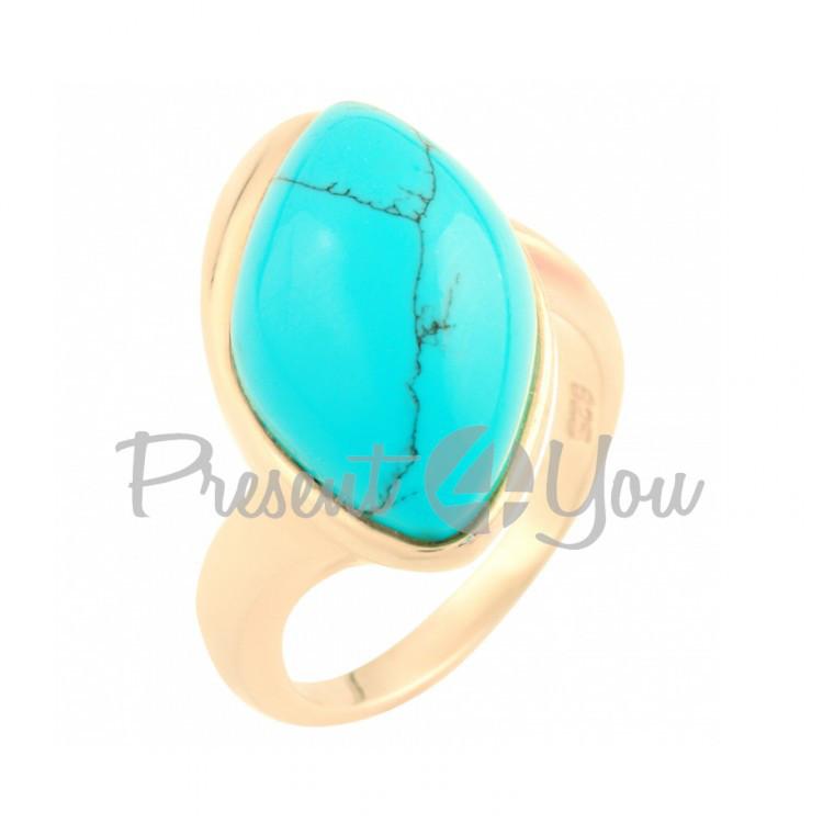 Серебряное кольцо с бирюзой - 9,61 г