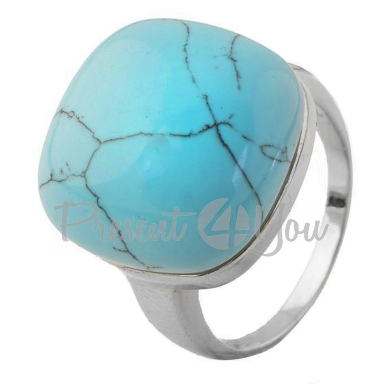 Серебряное кольцо с бирюзой - 10,46 г