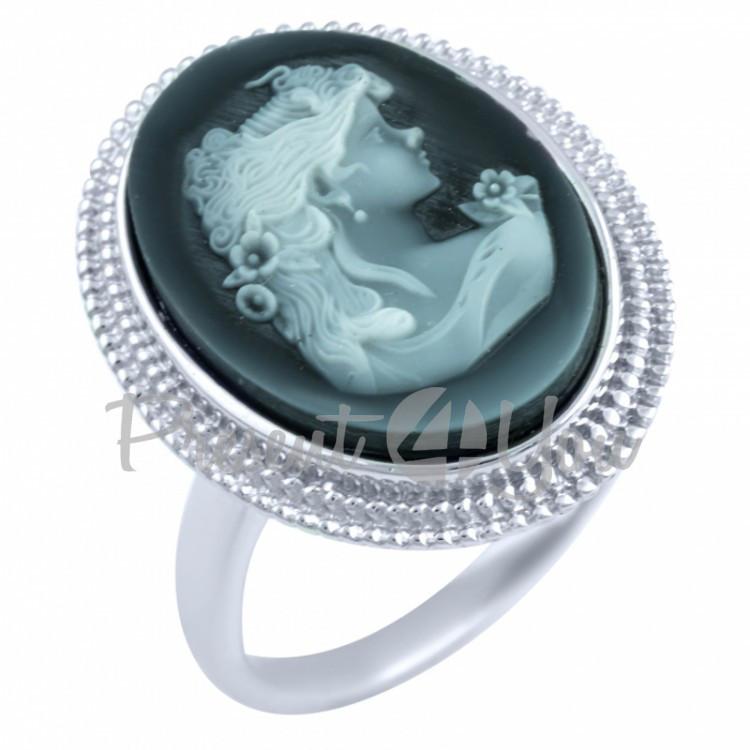 Серебряное кольцо Оникс - 5,44 г