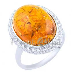 Серебряное кольцо Янтарь - 3,62 г