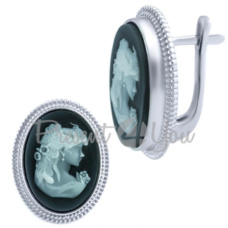 Серебряные серьги Оникс - 8,69 г