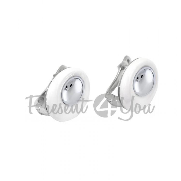 Серебряные серьги с белой керамикой - 7 г