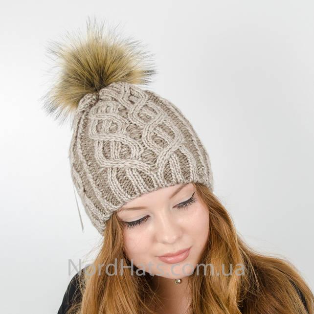 Женская шапка с помпоном  (Капучино)