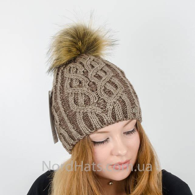 Женская шапка с помпоном  (Бежевый)