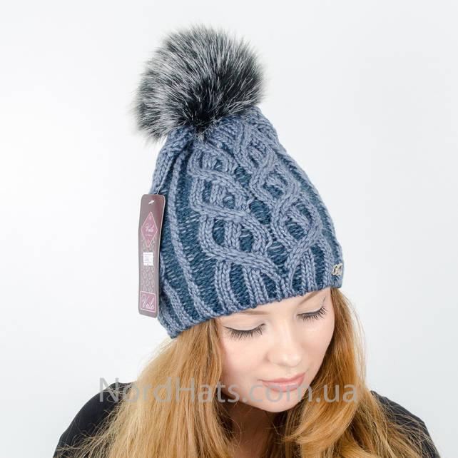 Женская шапка с помпоном  (Джинс)