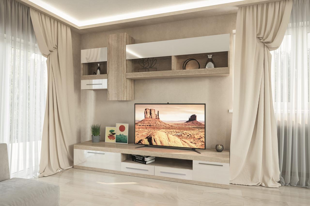 Стенка для гостиной Пальмира Світ меблів , дуб сонома + белый лак
