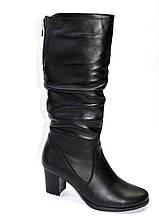 Комфортные сапожки  на литом каблуке из натуральной кожи.