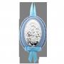 Подарок на крестины для мальчика набор серебряная погремушка и икона Дева Мария