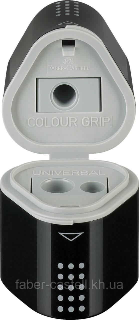 Точилка Faber-Castell TRIO Grip 2001 на 3 отверстия с контейнерами черная, 283899