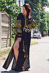 Черное платье лен вышитое золотой нитью,  вышиванка бохо-стиль, вишите плаття вишиванка, Bohemian