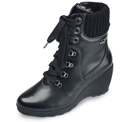 Ботинки женские МИДА 24381 черные,кожаные на тонкетке.