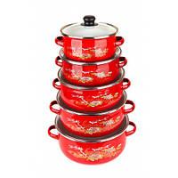 Набор посуды UNIQUE UN-2356 10 предметов красный цвет