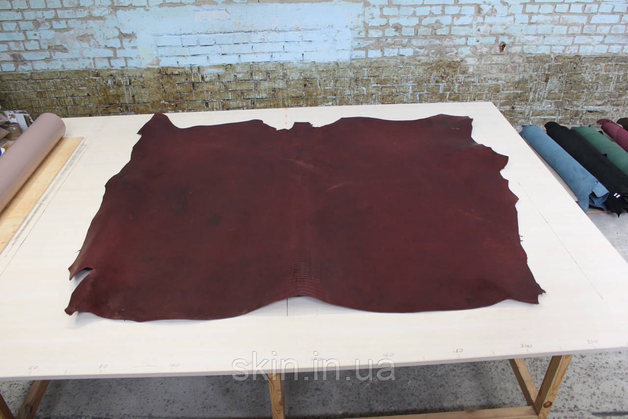 Кожа натуральная ременная бордового цвета, толщина 3.5 мм, арт. СК 1672