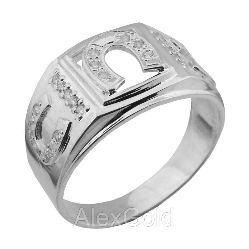 Мужское кольцо из серебра Подкова